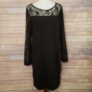 EUC Artistic Taste Black Tunic/Dress Lace Trim XXL